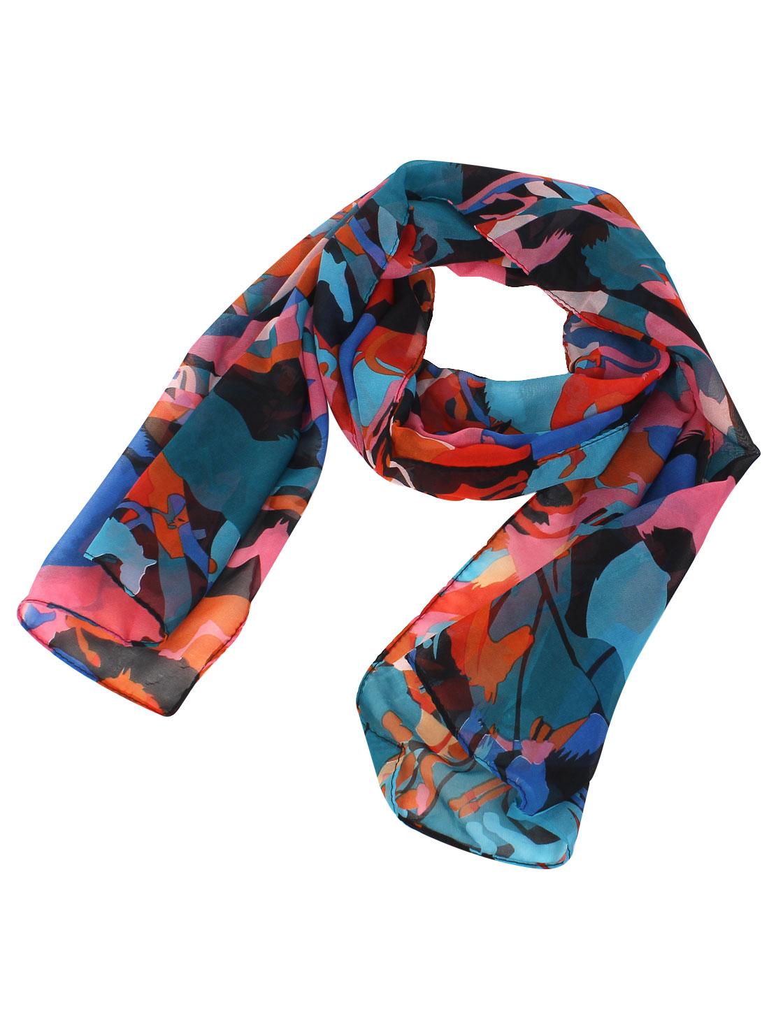 Women Fashion Cartoon Horse Print Long Soft Chiffon Scarf Shawl Wrap Multicolor