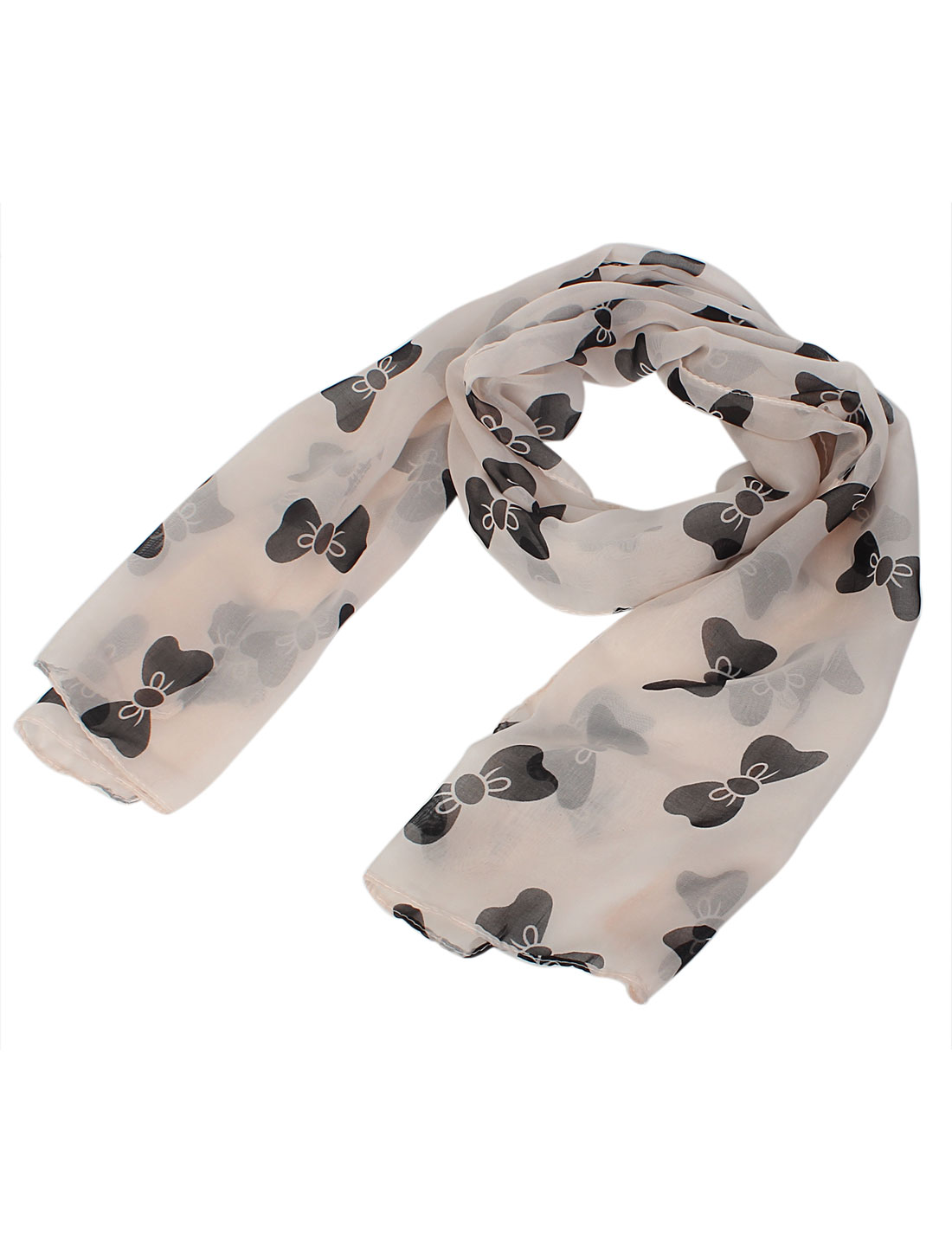 Women Lady Fashion Bowknot Print Long Soft Chiffon Scarf Shawl Wrap Black Pink