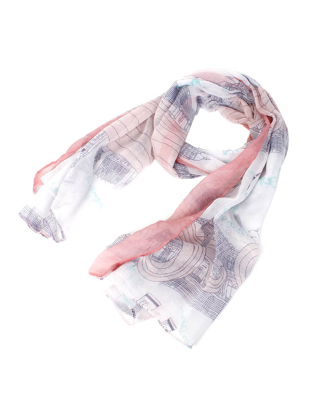 Women Fashion Soft Fabric Eiffel Tower Prints Long Scarf Shawl Wrap Multicolor
