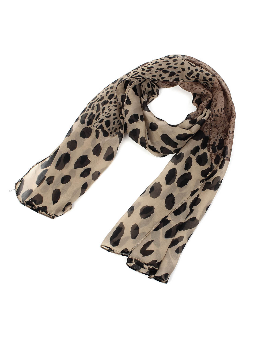 Lady Fashion Leopard Print Long Soft Chiffon Scarf Shawl Wrap Black Coffee Color