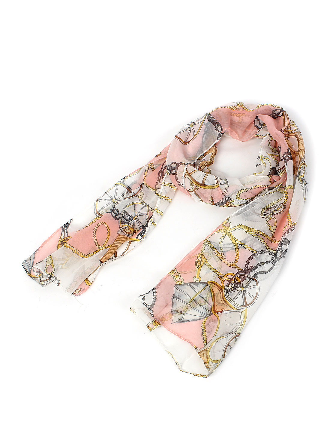 Women Lady Fashion Wheel Rope Print Long Soft Chiffon Scarf Shawl Wrap Colorful