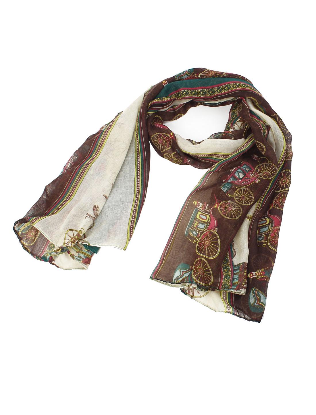Women Fashion Soft Fabric Palace Carriage Print Long Scarf Shawl Wrap Multicolor