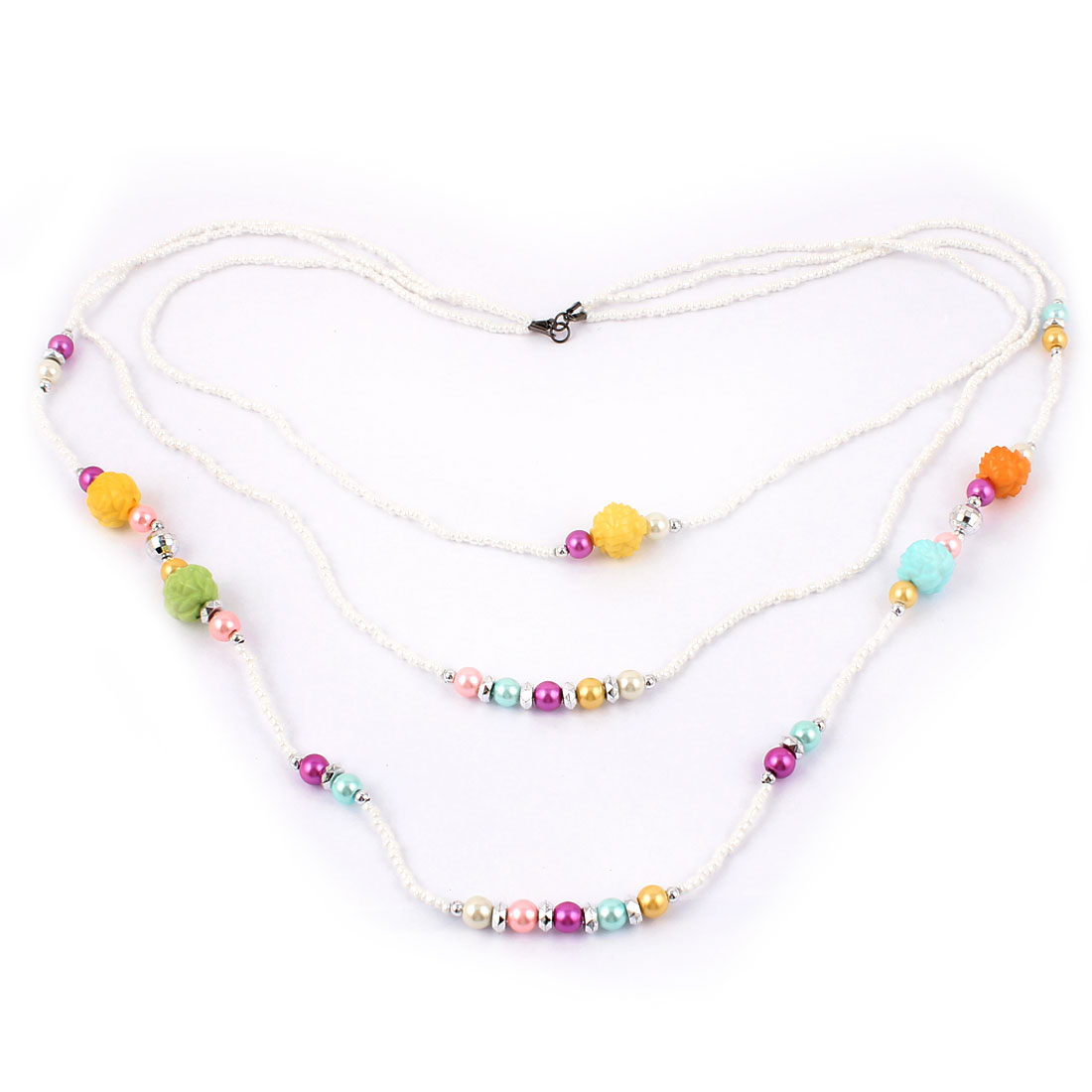Women Party Fashion Jewelry 3 Layers Plastic Rose Beads Necklace Assorted Color