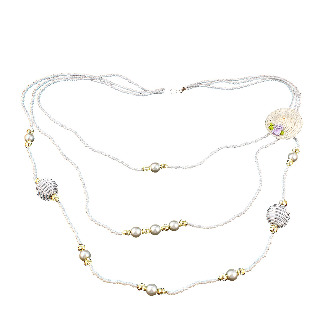 Women Fashion Jewelry 3 Layers Hat Brooch Plastic Beads Sweater Necklace White