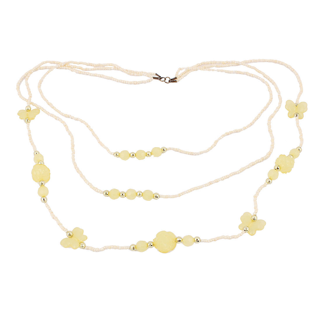 Women Lady Party Fashion Jewelry 3 Layers Plastic Butterfly Beads Necklace Beige