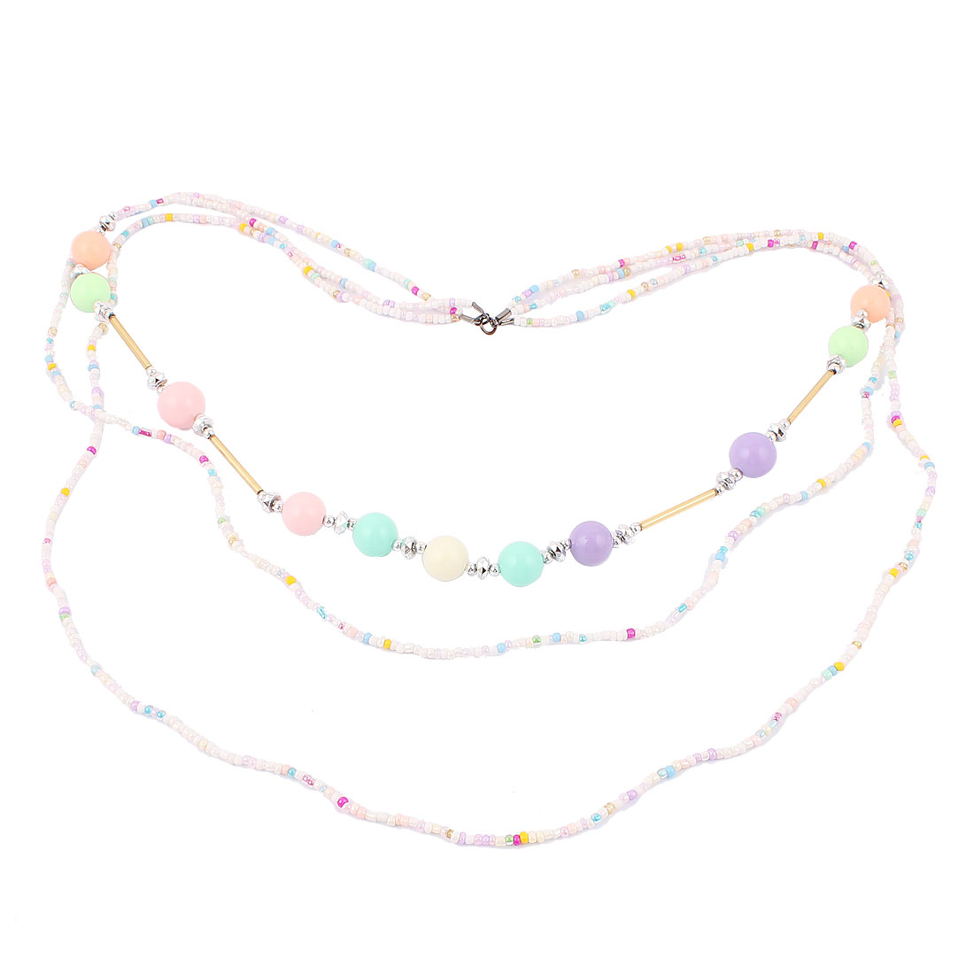Women Party Fashion Jewelry 3 Layers Plastic Beads Dress Necklace Candy Color