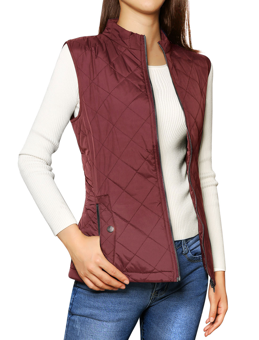 Ladies Stand Collar Zippered Slant Pockets Front Quilted Padded Vest Red M