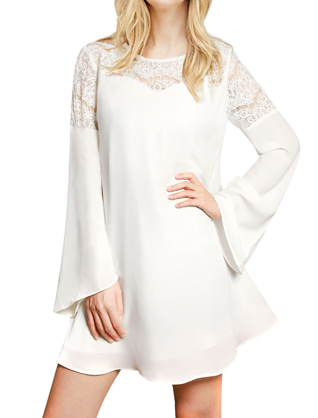 Woman Lace Panel Bell Sleeves Fully Lined Round Neck Chiffon Dress Ivory L