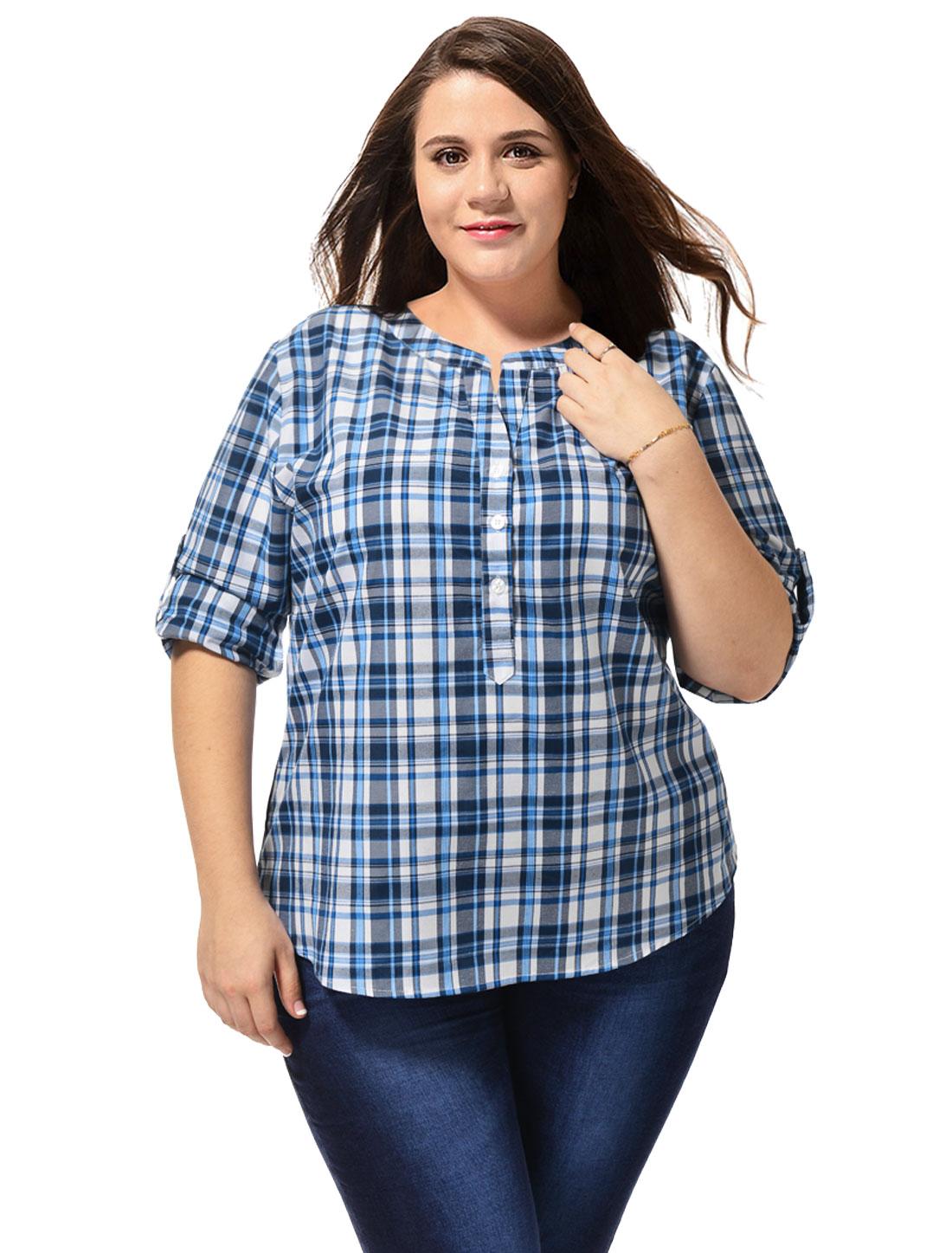 Women Plus Size Stand Collar High Low Hem Plaids Shirt Blue 3X