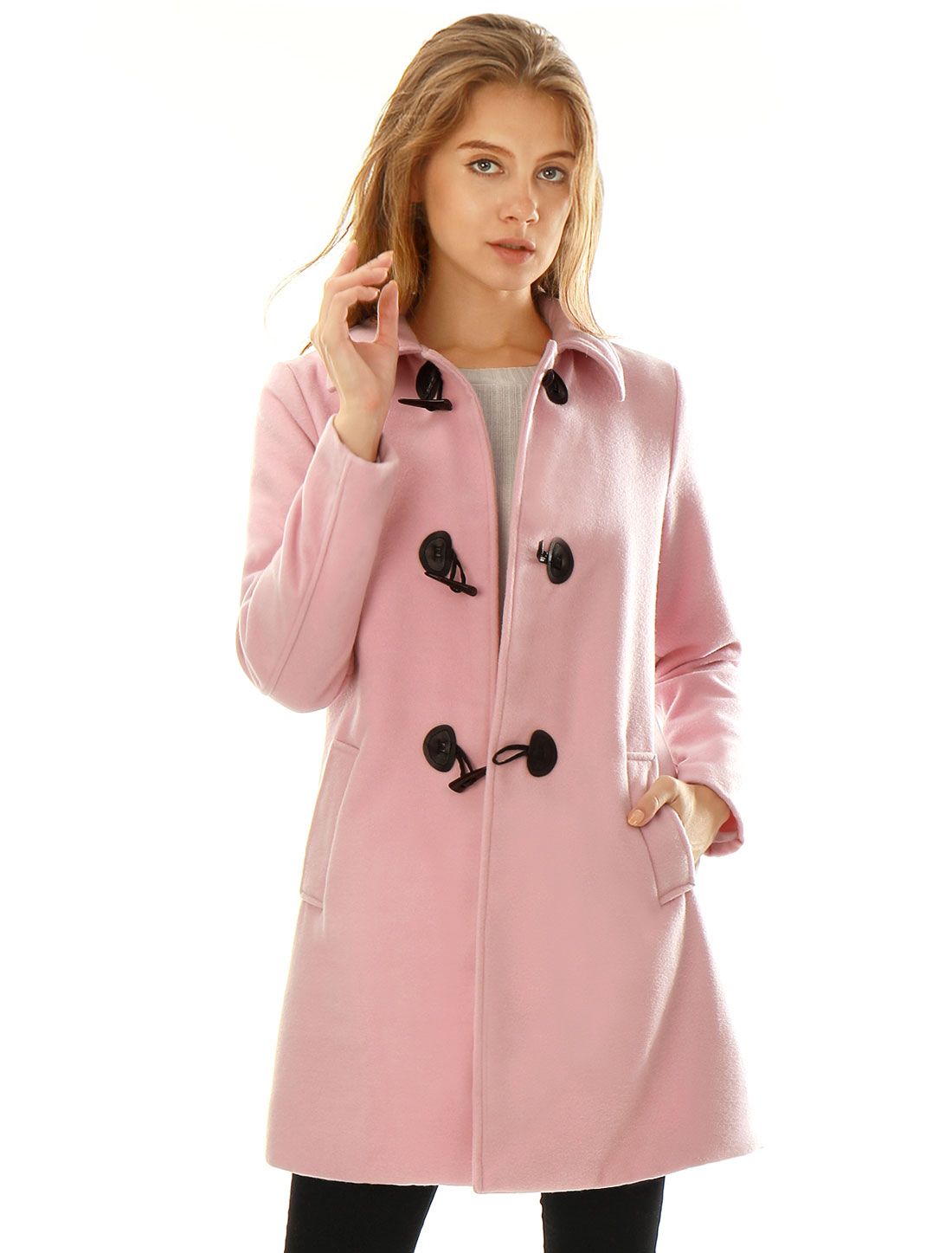 Women Turn Down Collar Slant Pockets Worsted Longline Toggle Coat Pink M