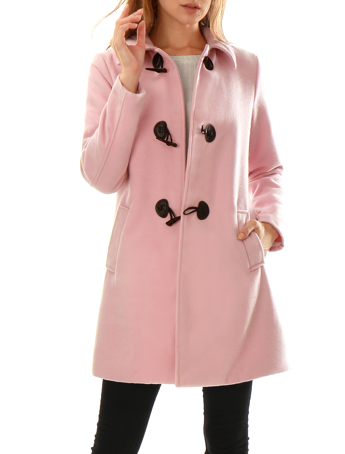 Women Turn Down Collar Slant Pockets Worsted Longline Toggle Coat Pink L