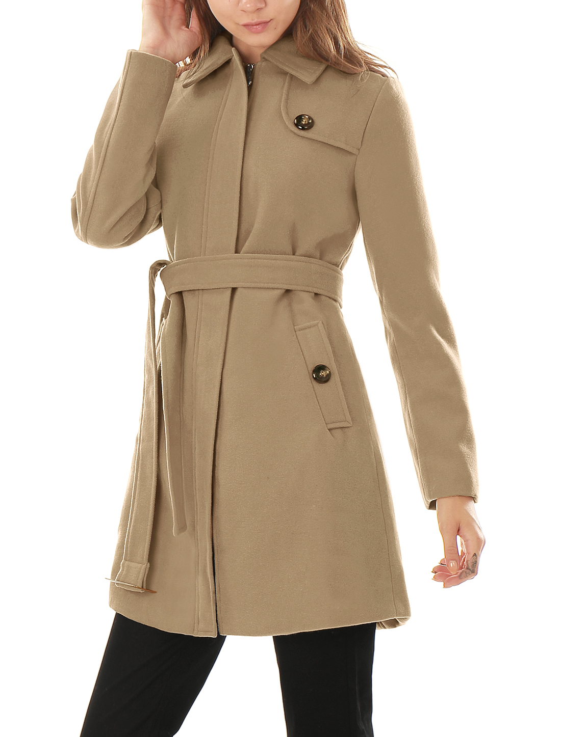 Woman Button-tab Epaulets Slant Pockets Belted Longline Worsted Coat Beige XS