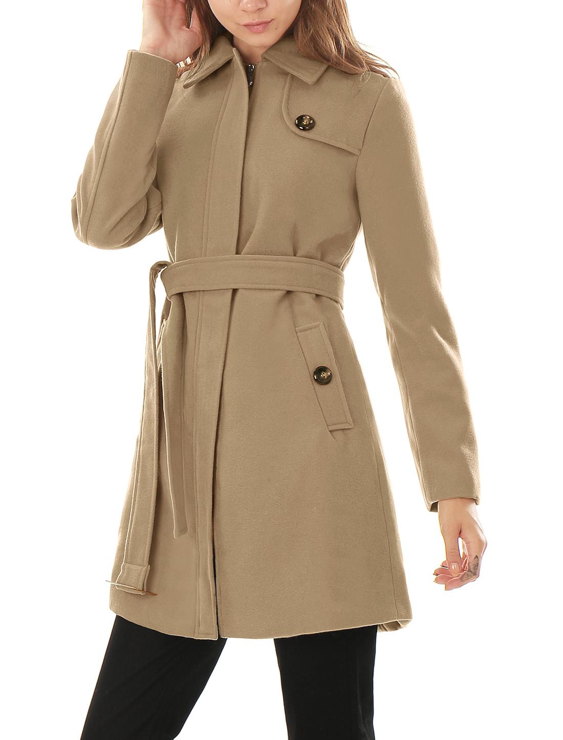 Woman Button-tab Epaulets Slant Pockets Belted Longline Worsted Coat Beige L