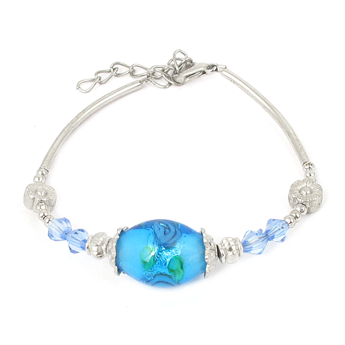 Women Lobster Clasp Link Oval Bead Detail Wrist Decoration Bracelet Bangle Light Blue