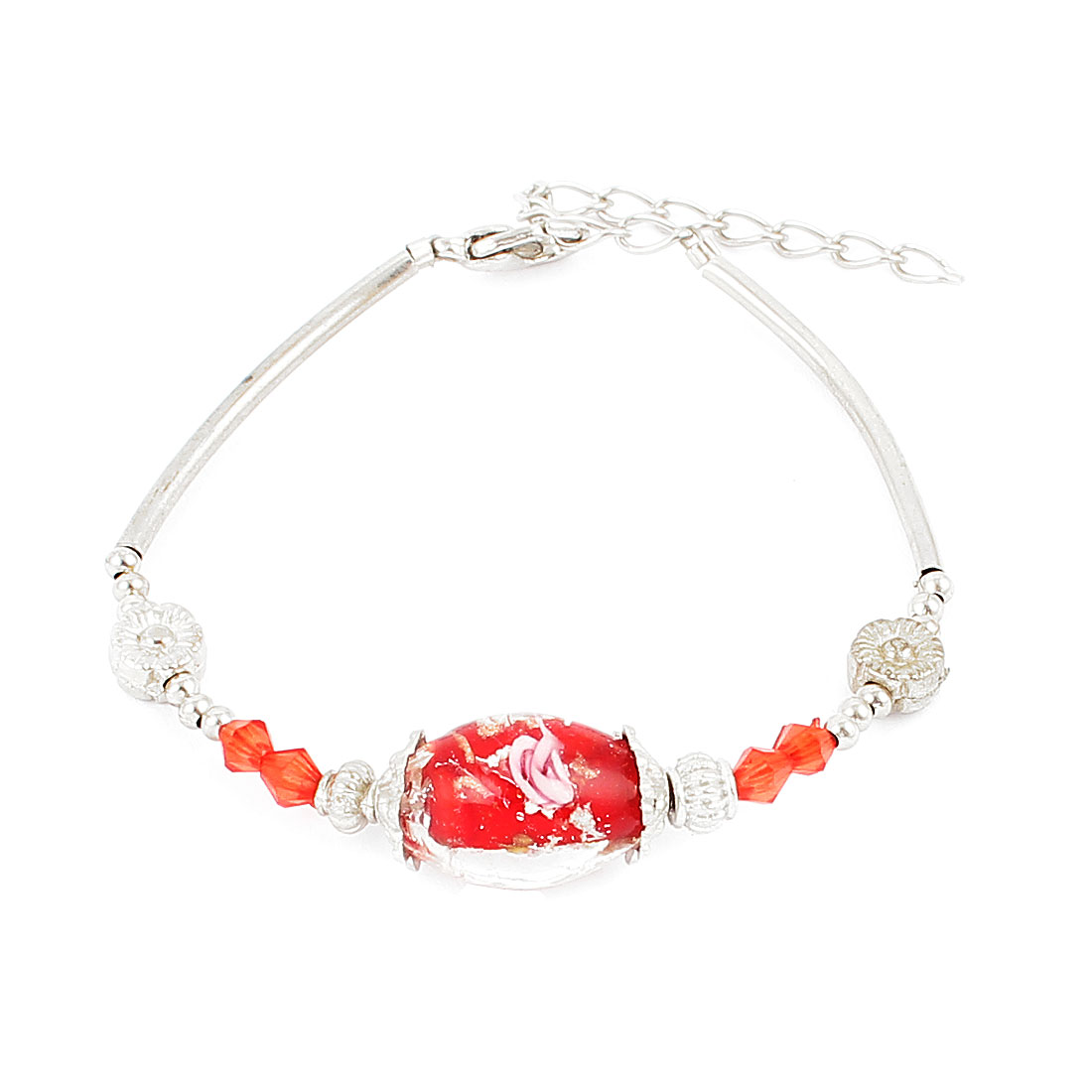 Lady Lobster Hook Oval Bead Accent Wrist Chain Bracelet Red