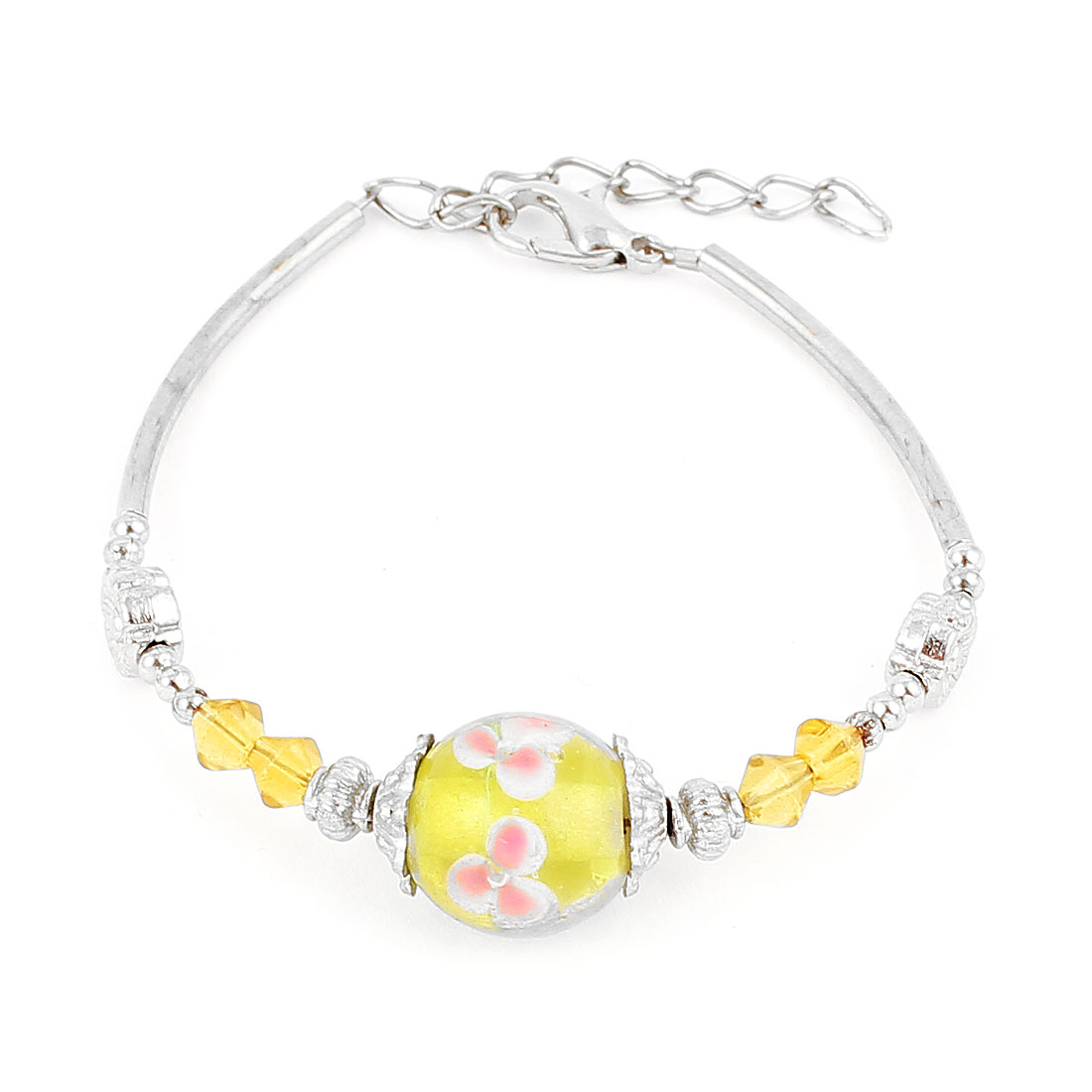 Lady Lobster Clasp Link Round Bead Accent Wrist Decoration Bracelet Bangle Yellow