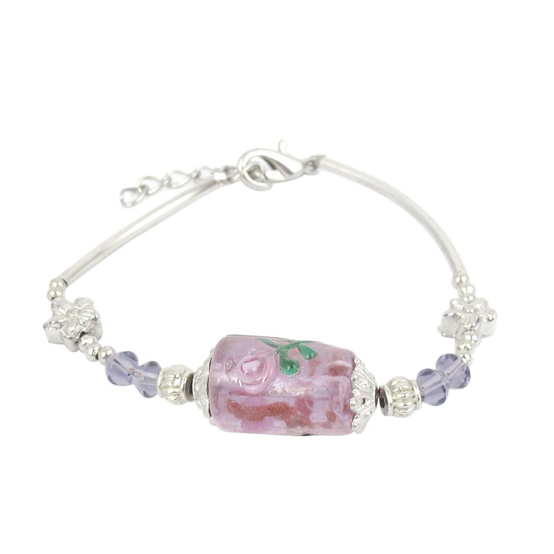 Lady Lobster Clasp Link Cylinder Bead Decor Wrist Ornament Bracelet Bangle Purple
