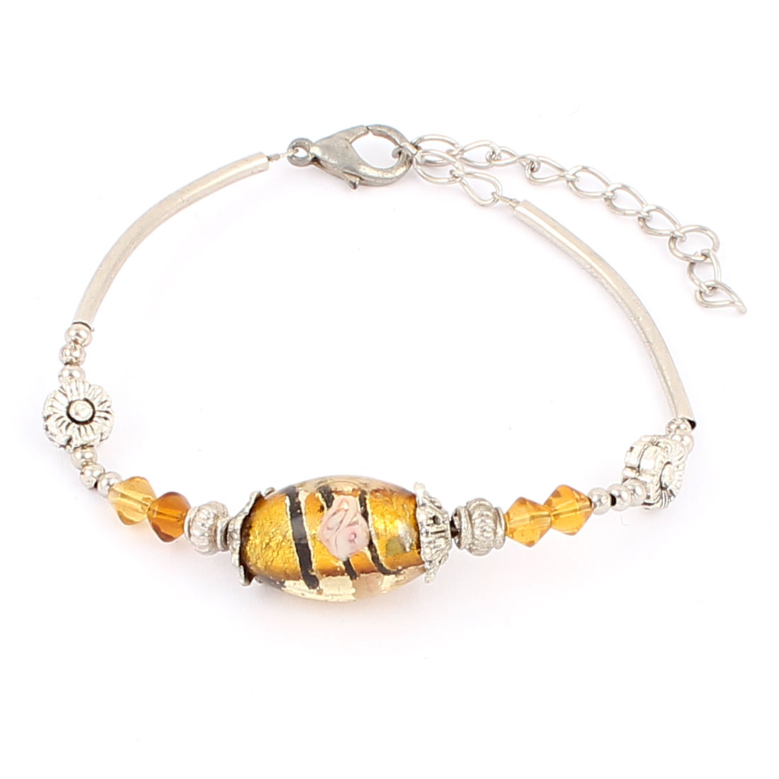 Women Oval Bead Detail Lobster Clasp Adjustable Chain Bracelet Yellow