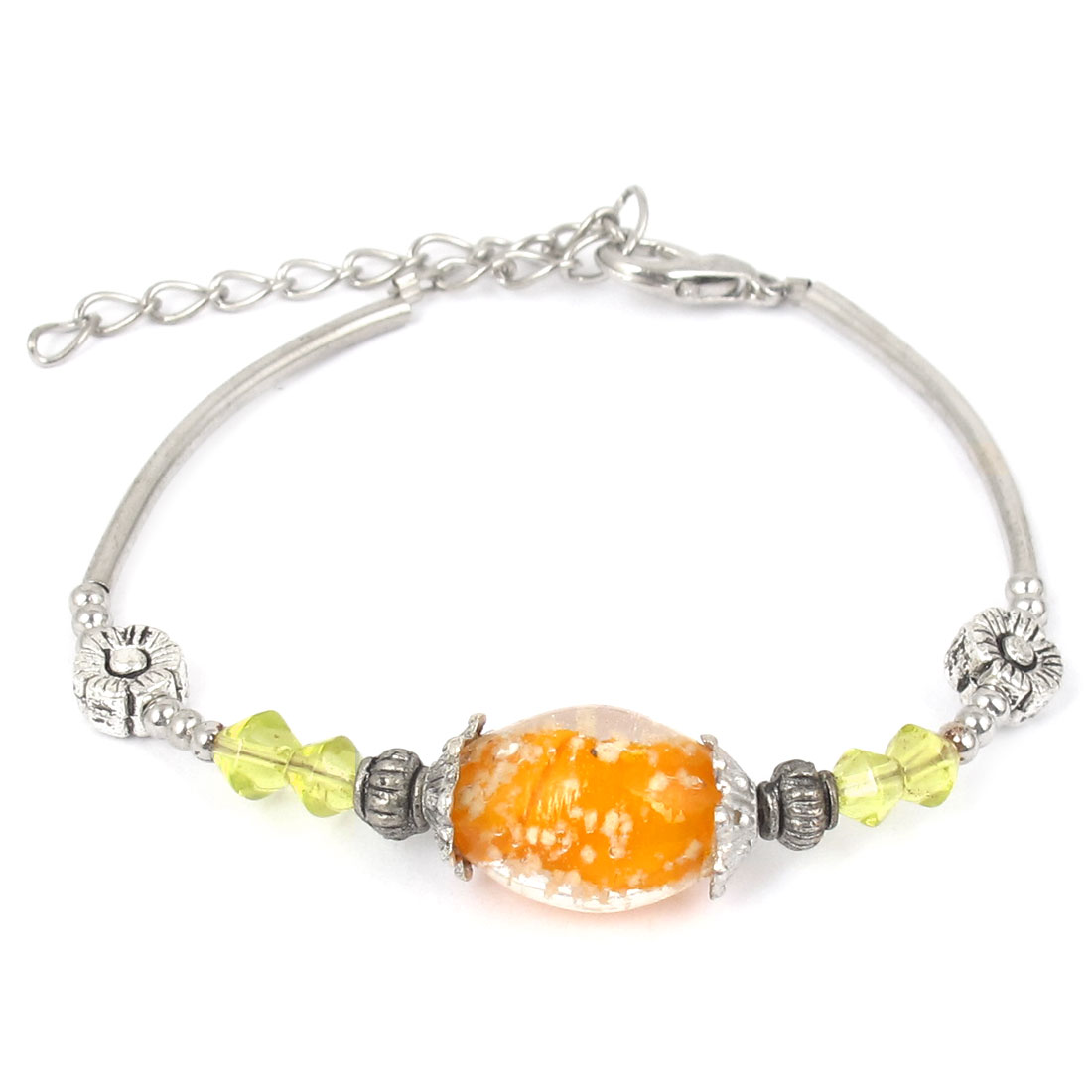 Women Lobster Clasp Link Oval Bead Detail Wrist Decoration Bracelet Bangle Orange