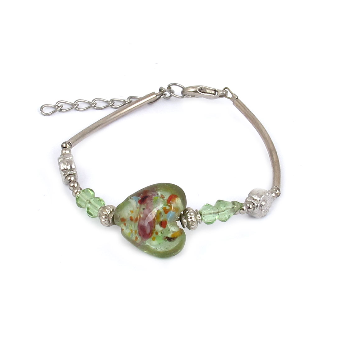 Lady Lobster Clasp Link Heart Shaped Bead Detail Wrist Decoration Bracelet Bangle Green