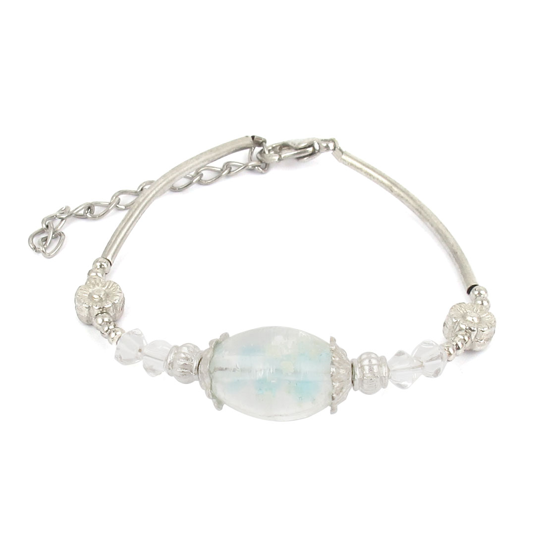 Women Lobster Clasp Link Oval Bead Detail Wrist Decoration Bracelet Bangle Clear
