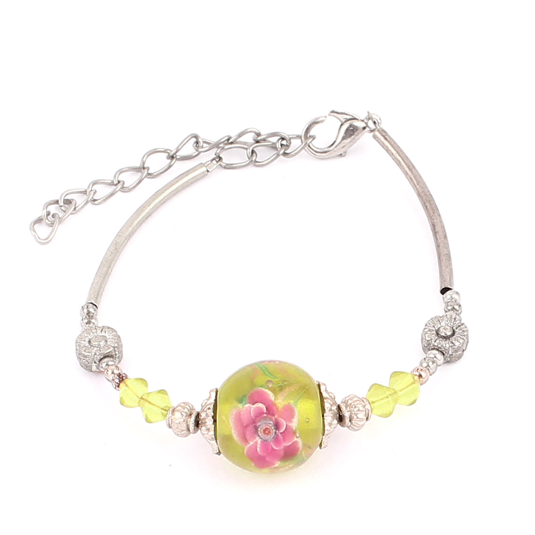 Women Lobster Clasp Link Round Bead Accent Wrist Ornament Bracelet Bangle Yellow