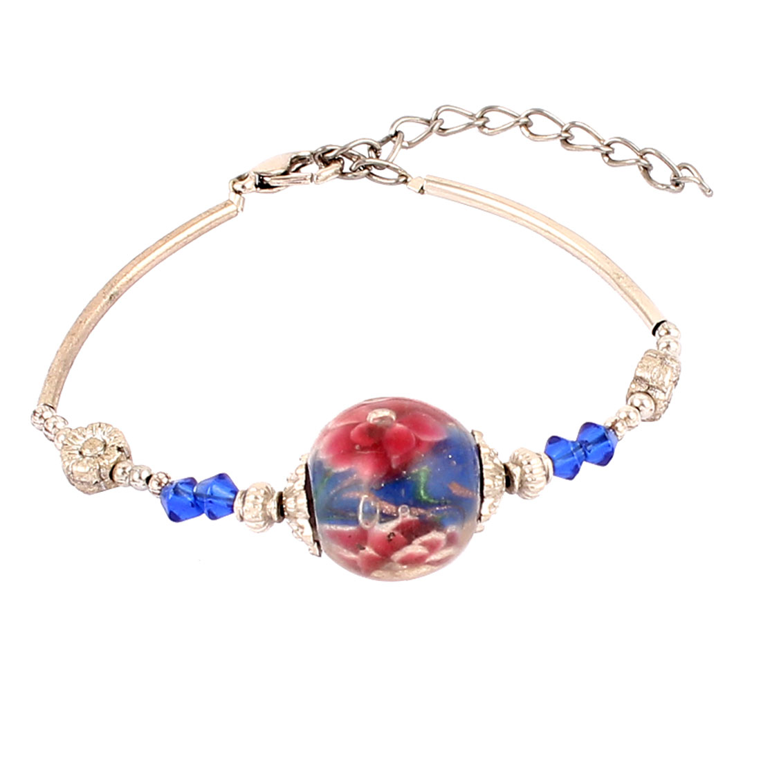 Women Lobster Clasp Link Round Bead Accent Wrist Ornament Bracelet Bangle Dark Blue