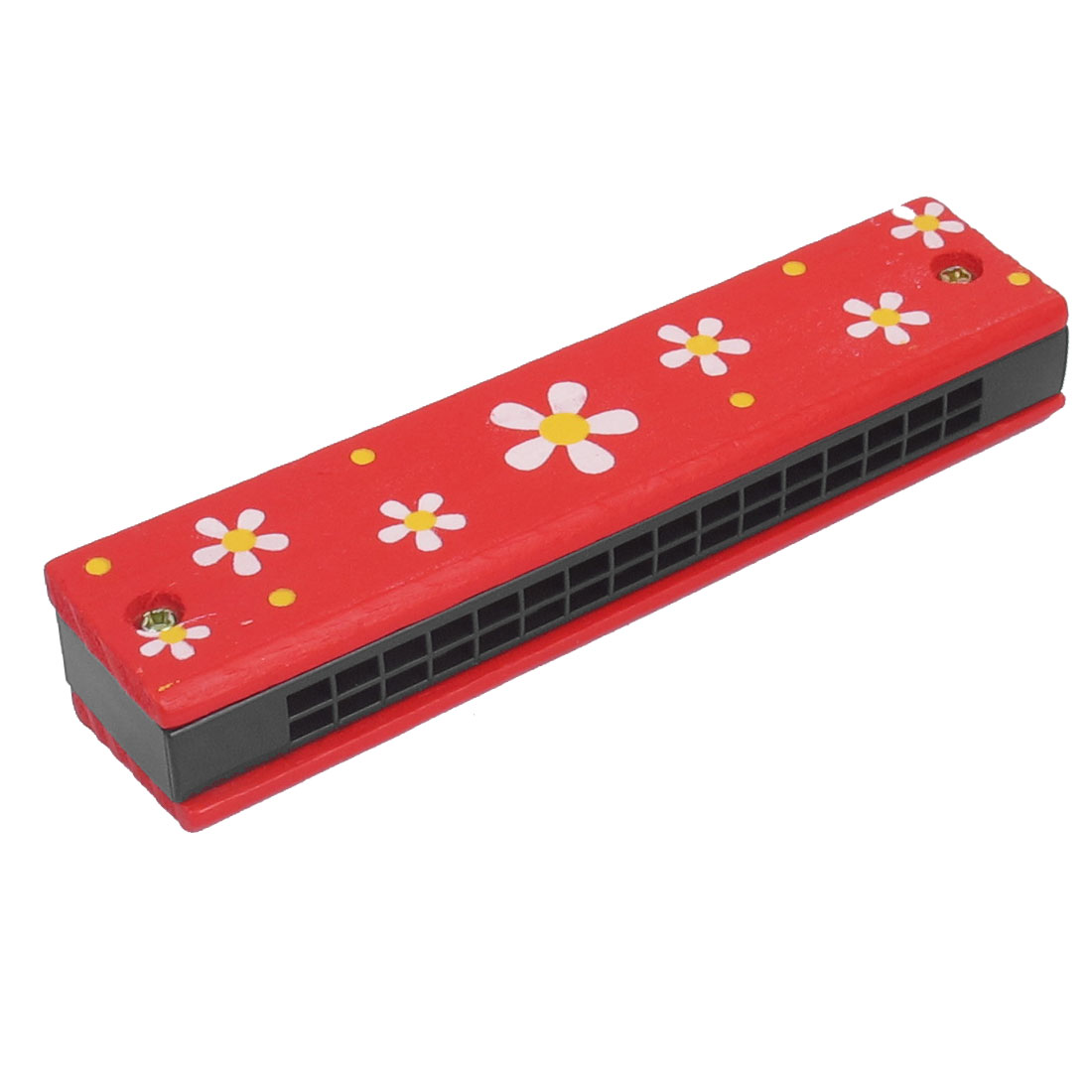 Child Flower Print Wood Dual Rows 32 Hole Harmonica Mouth Organ Red