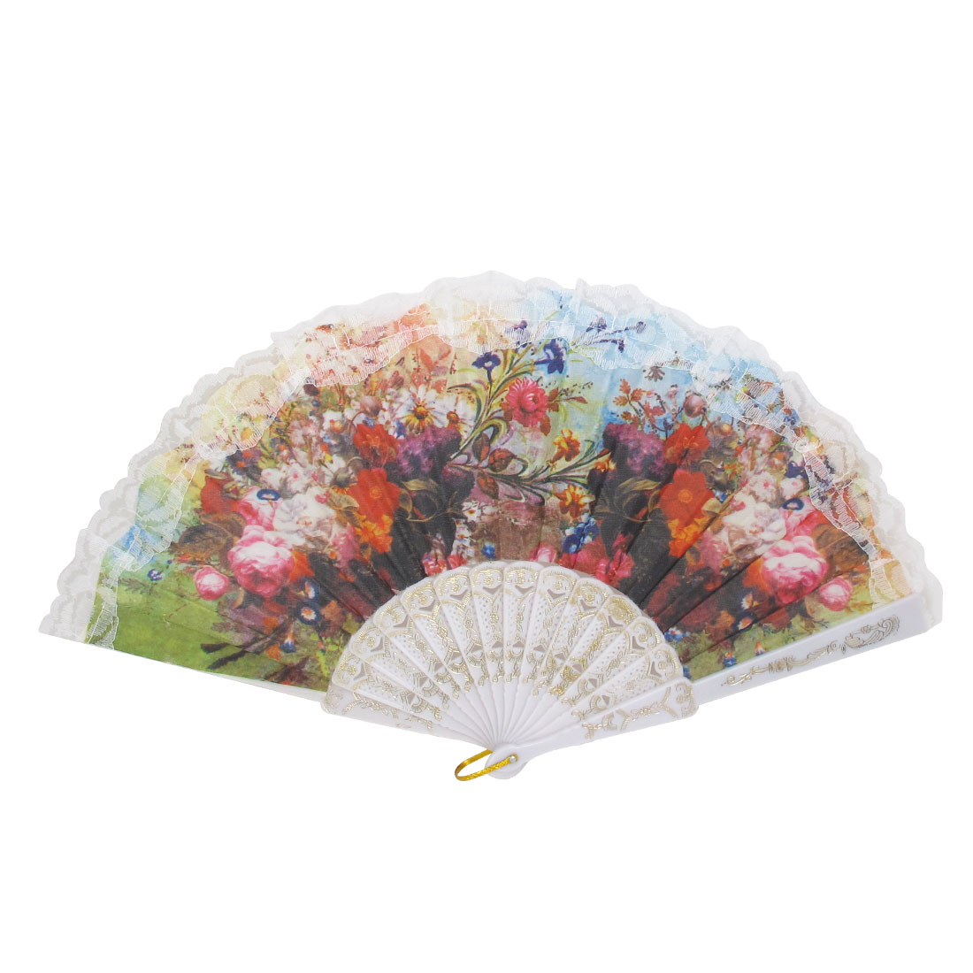 Wedding Party D Ring Decor Plastic Frame Floral Print Folding Hand Fan White