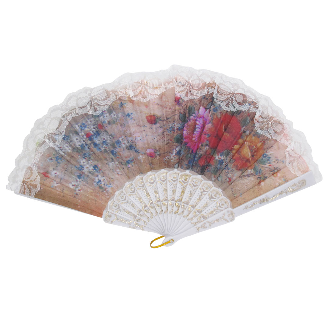 Wedding Party Gift White Plastic Frame Lace Detailing Flower Print Folding Hand Fan
