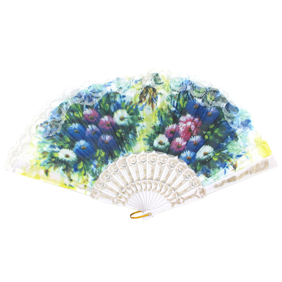 Wedding Party Gift Plastic Ribs D Ring Decor Lace Detail Folding Hand Fan