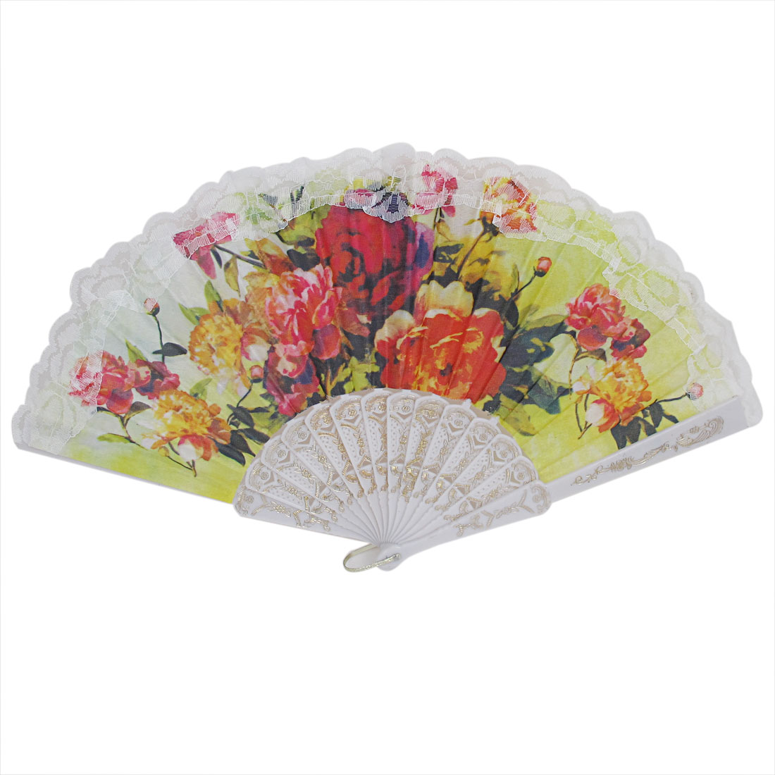 Wedding Party Gift White Plastic Frame Lace Detailing D Ring Decor Folding Hand Fan