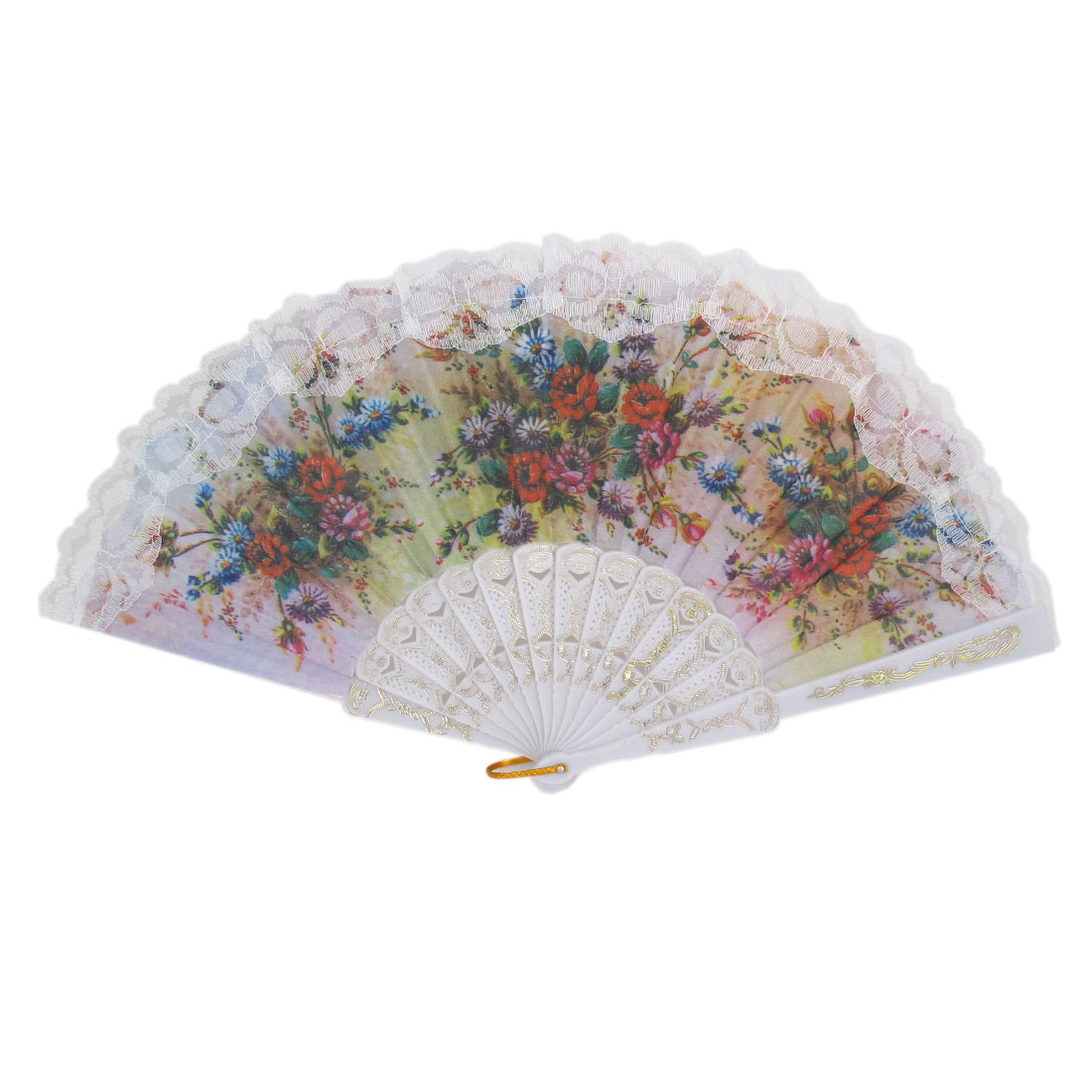 Wedding Party Gift Plastic Frame Lace Detail Flower Pattern Folding Hand Fan White