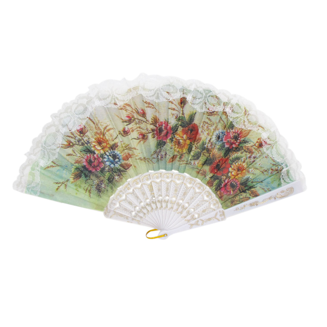 Women Wedding Party Plastic Hollow out Frame Hanging D Ring Folding Hand Fan White