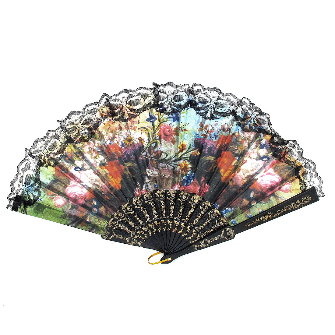 Wedding Party D Ring Decor Plastic Rib Floral Print Folding Hand Fan Black