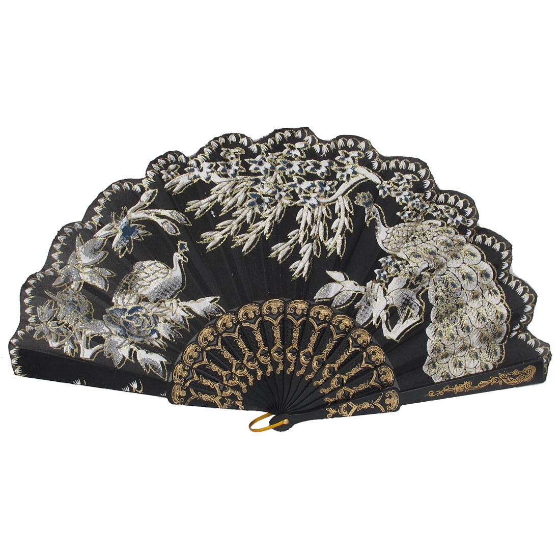 Women Party Gift Carved Ribs Floral Peacock Pattern Folding Hand Fan Black