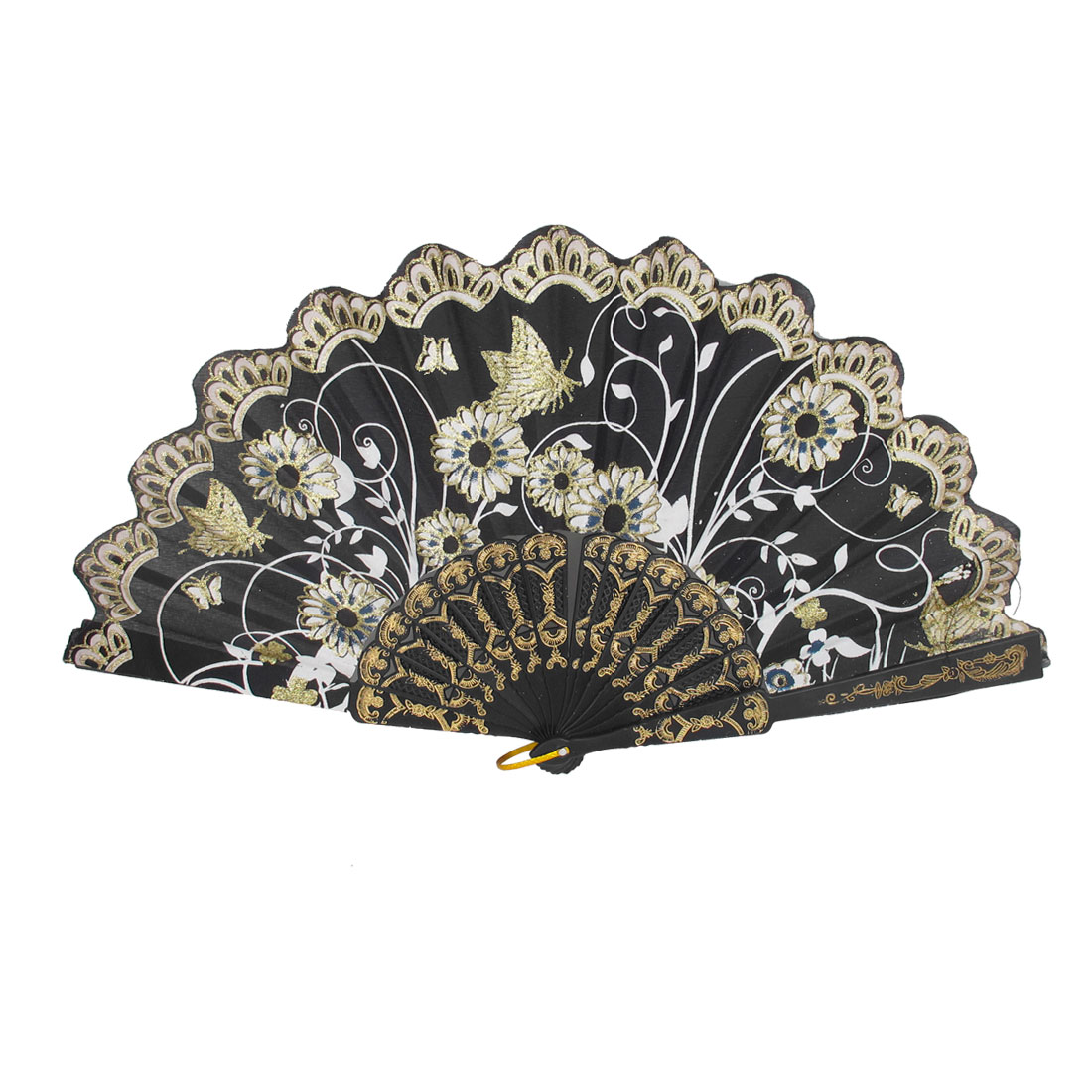Lady Wedding Party Gift Plastic Ribs Flower Butterfly Pattern Folding Hand Fan Black