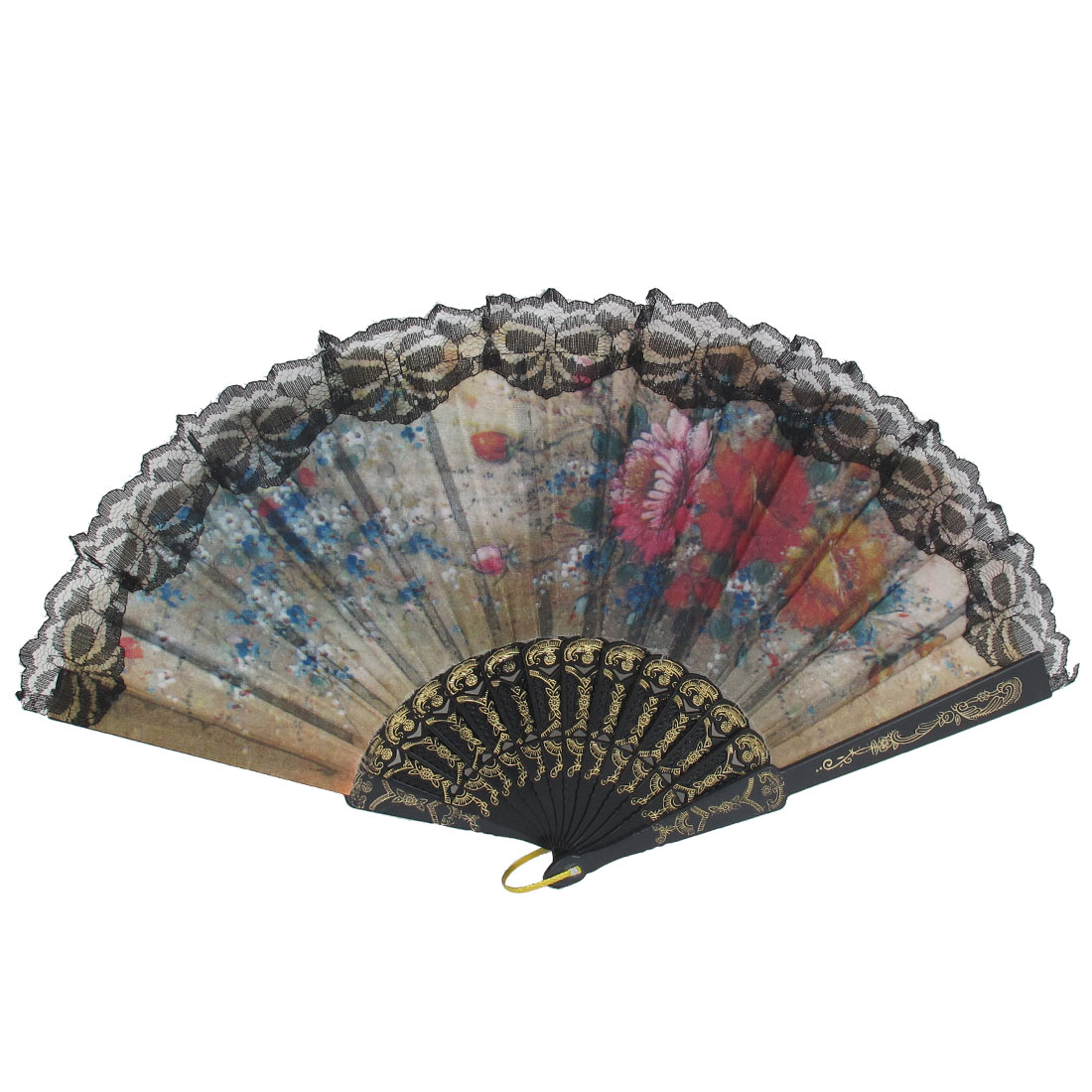 Women Wedding Party Black Plastic Carved Frame Lace Detail Handheld Folding Hand Fan