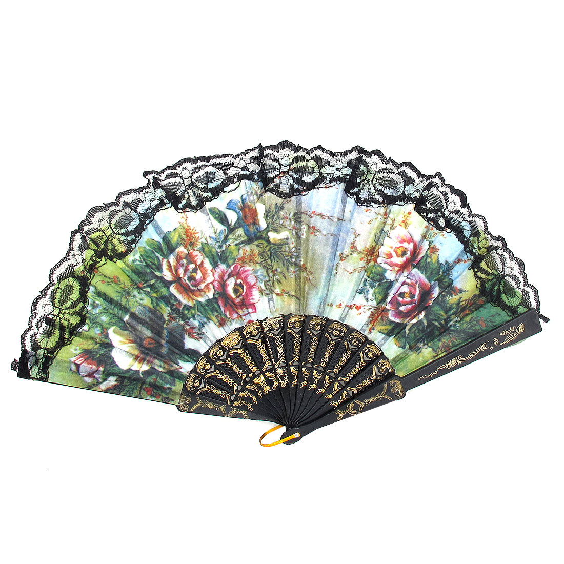 Lady Wedding Party Black Plastic Carved Frame Lace Detail Dancing Folding Hand Fan