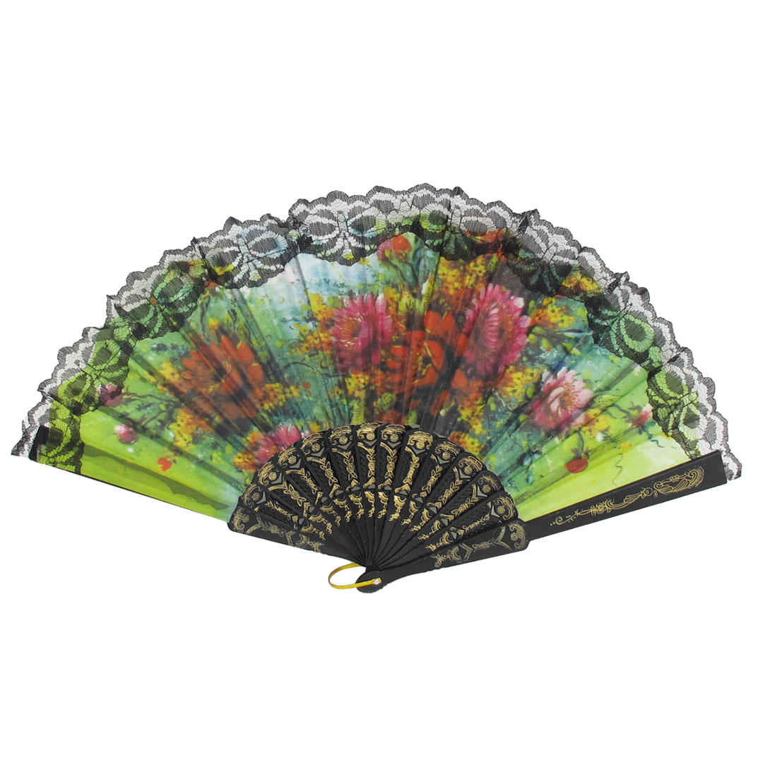 Wedding Party Gift Carved Frame Flower Pattern Dancing Folding Hand Fan Black
