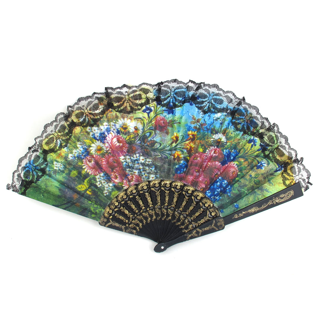Wedding Party Gift Black Plastic Carved Rib Lace Detail Handheld Folding Hand Fan