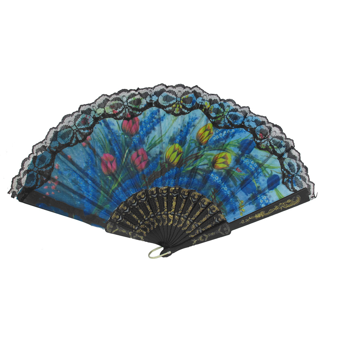 Wedding Party Gift Plastic Frame Lace Decor Handheld Flower Pattern Folding Hand Fan Black