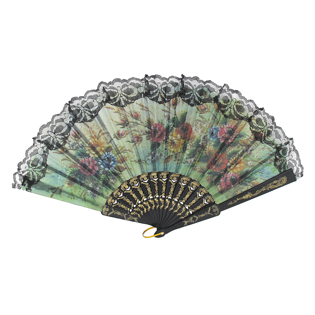 Women Wedding Party Plastic Hollow out Frame Hanging D Ring Folding Hand Fan Black
