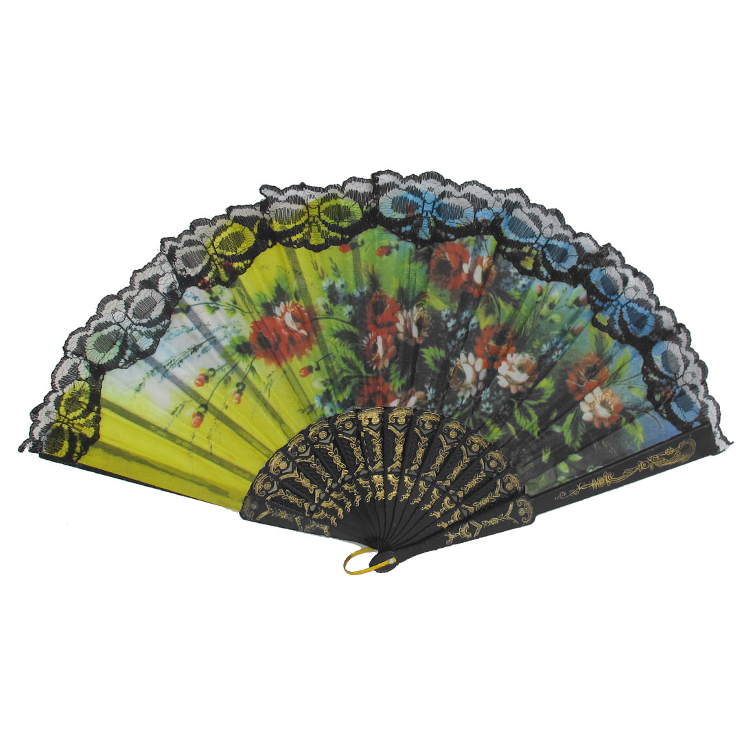 Wedding Party Gift Black Plastic Carved Rib Lace Detail Flower Pattern Folding Hand Fan