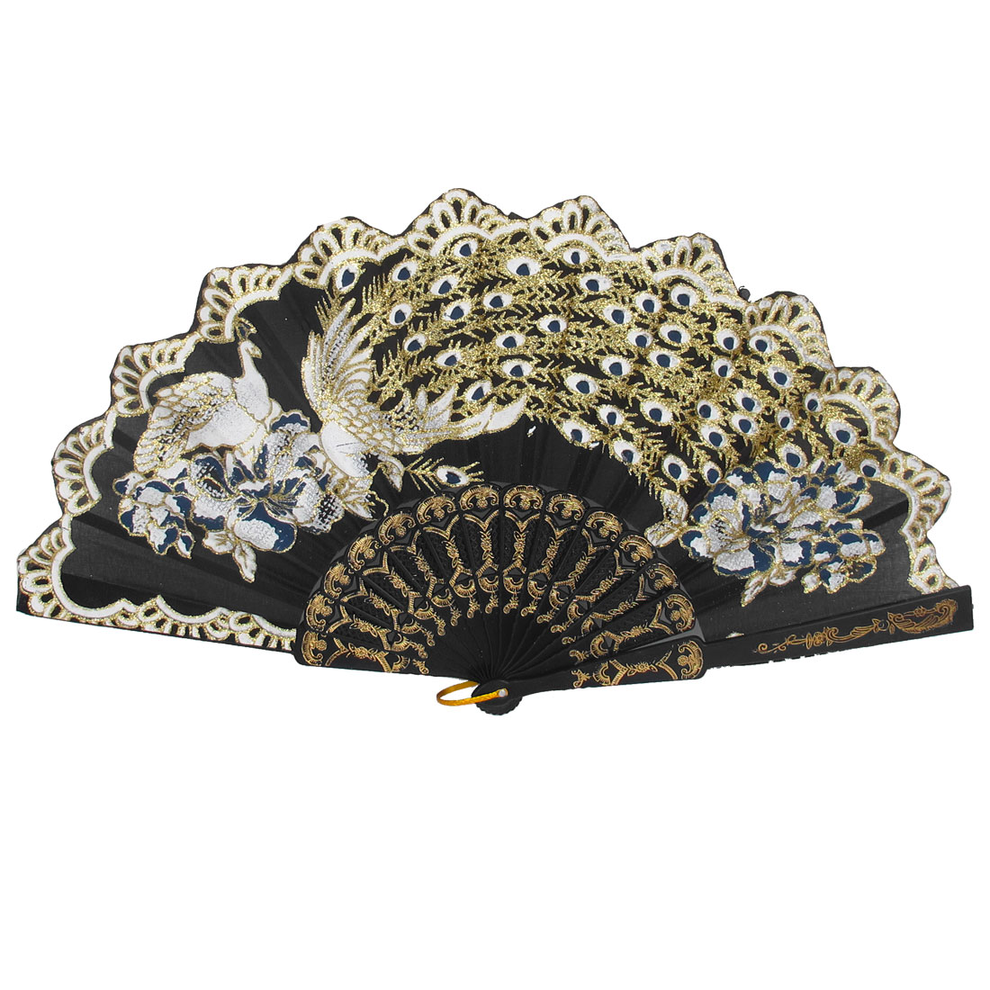 Women Party Gift Plastic Rib Peacock Pattern Foldable Folding Hand Fan Black