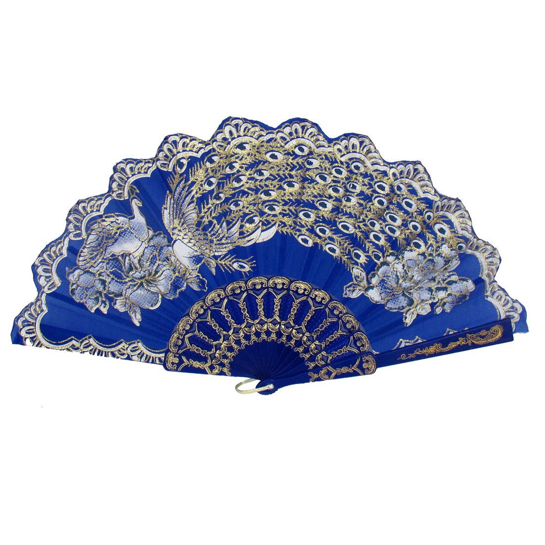 Women Party Gift Plastic Rib Peacock Pattern Foldable Folding Hand Fan Blue
