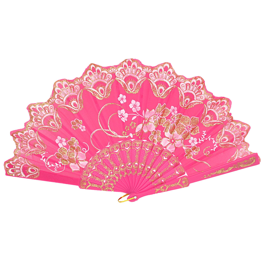 Women Carved Ribs Glittery Powder Decor Flower Pattern Folding Hand Fan Fuchsia