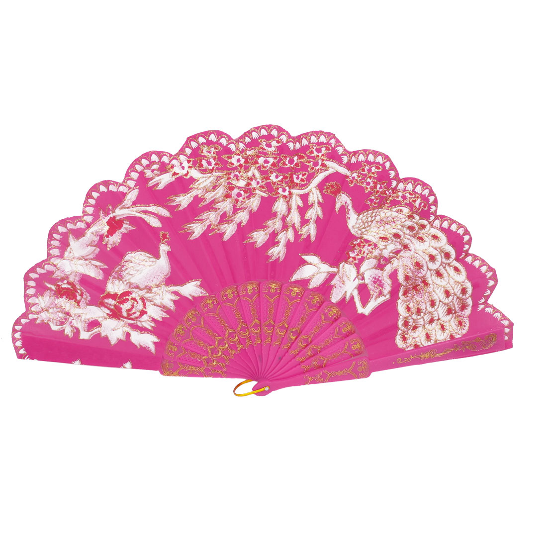 Women Party Gift Carved Ribs Floral Peacock Pattern Folding Hand Fan Fuchsia