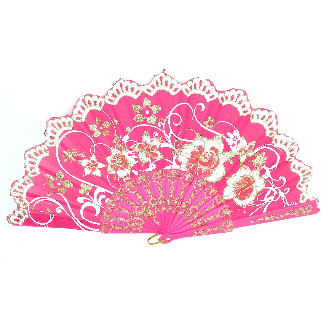 Wedding Party D Ring Decor Plastic Rib Flower Pattern Folding Hand Fan Fuchsia