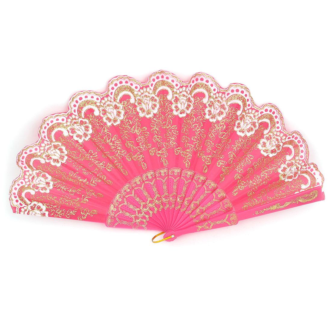 Wedding Party Gift Plastic Rib Glittery Powder Decor Flower Pattern Dancing Folding Hand Fan Fuchsia